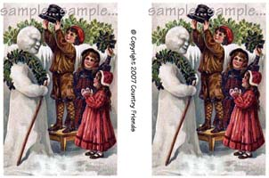 Tag 4 (Vintage Snowman and Kids-2)