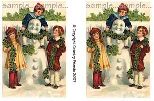 Tag 3 (Vintage Snowman and Kids)
