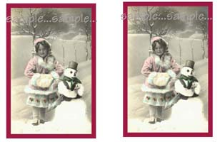 Tag 5 (Vintage Snowgirl and Snowman)